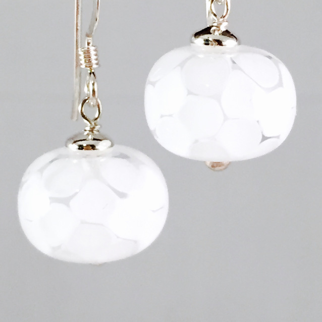White smooth earrings