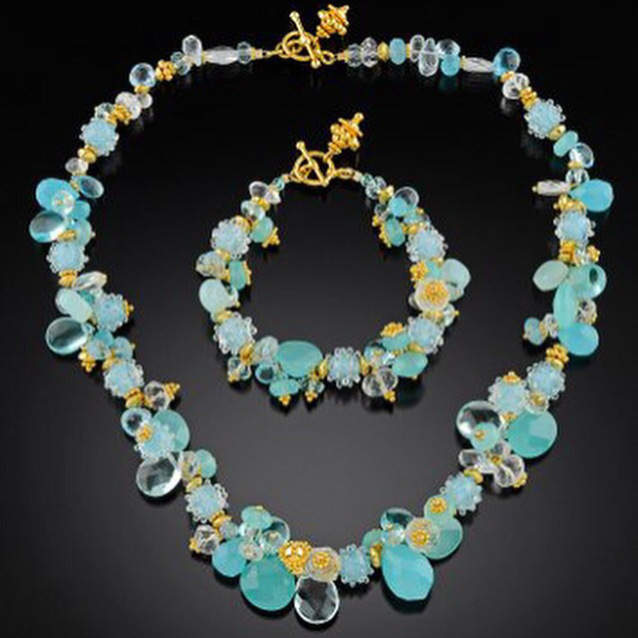 Gold and aqua gemstone bracelet