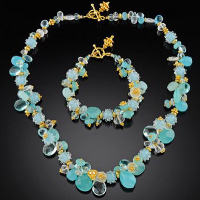Gold and aqua gemstone glass necklace