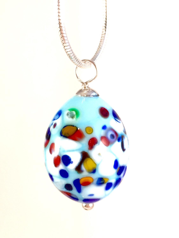 Multi speckled robin egg necklace