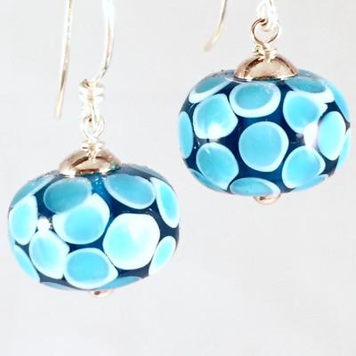 Smooth Aqua spot earrings