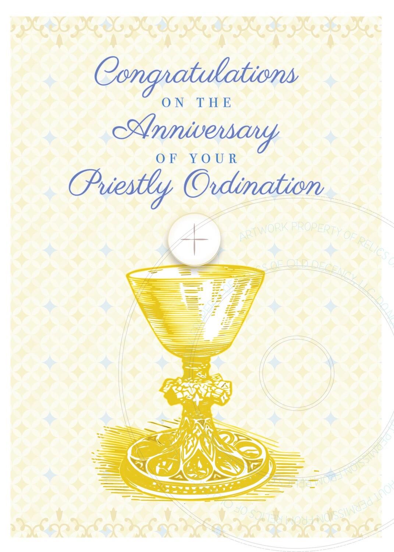 Ordination Anniversary Card ~ Golden Chalice