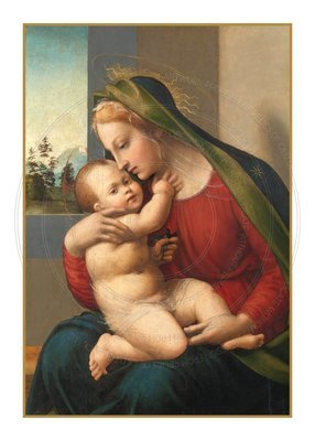 Christmas Card -- Blessed Mother and the infant Jesus.