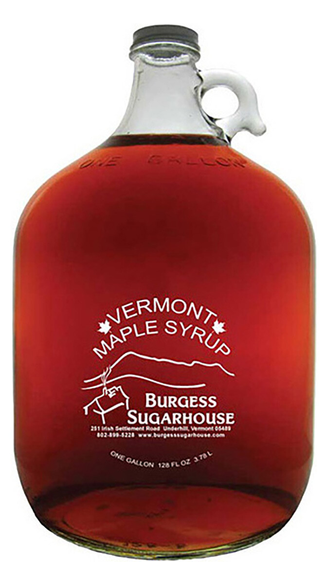 One- One Gallon (3.8L) Glass Jug of Pure Vermont Maple Syrup