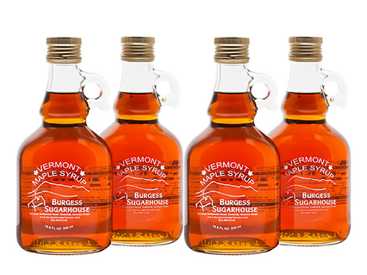 Four - 500ml (16.9 fl oz, slightly more than a pint) Glass Jugs of Pure Vermont Maple Syrup
