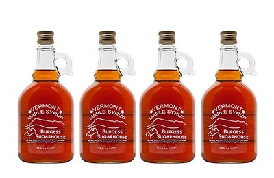 Four - Liter (slightly more than a quart) Glass Jugs of Pure Vermont Maple Syrup