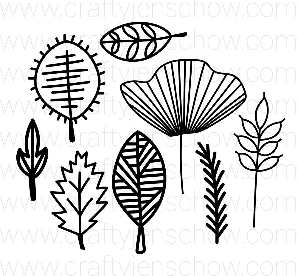 Lined Leaves 2 Cut File (Set of 8)