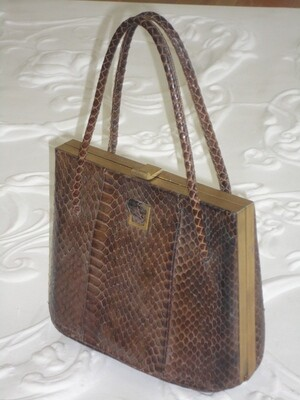 1950 Brown Snakeskin Dress / Evening Bag