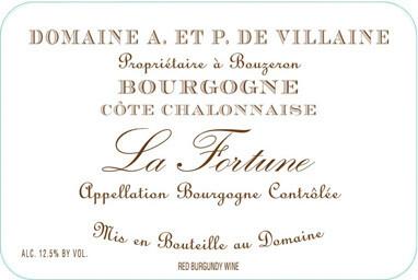 """Domaine de Villaine Bourgogne Côte Chalonnaise Rouge """"La Fortune""""  2017"""