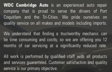 WDC Cambridge Auto - About