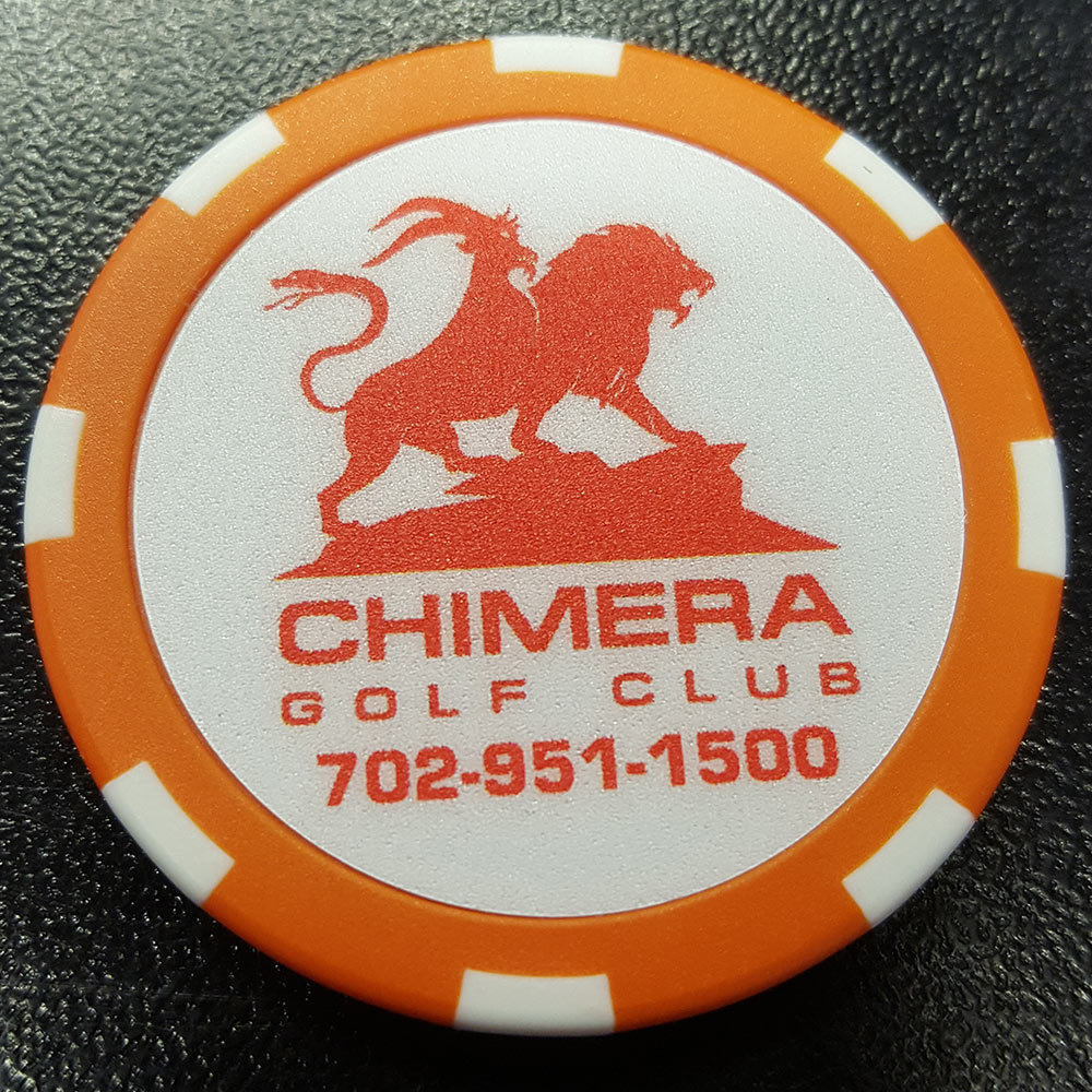 Chimera Poker Chip Golf Ball Marker - Orange and White
