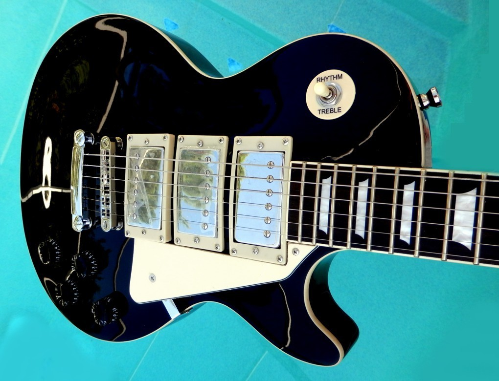 Elite Electric Guitar LP-F3 Frampton style w/ Epiphone PUPS Black HOT 16K Bridge