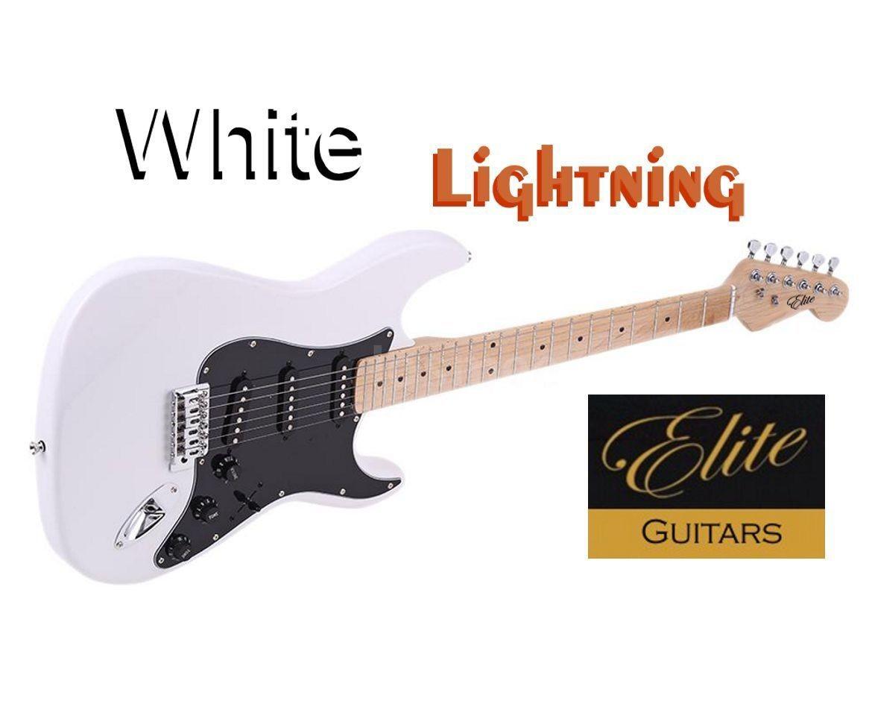"Elite Strat Pro Style Guitar "" White Lightning "" Mdl-WL-strat"