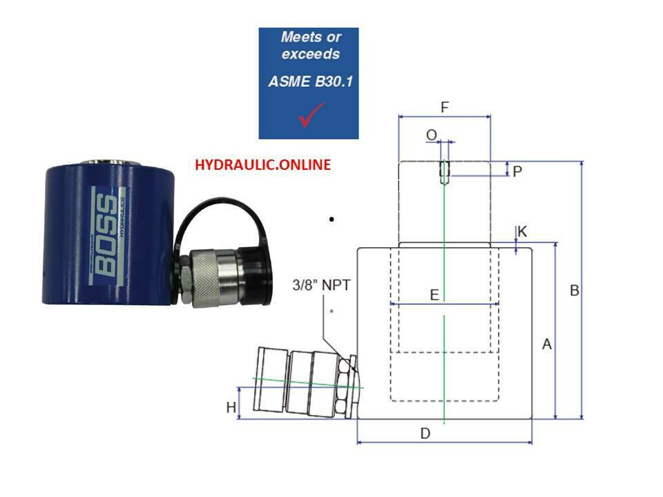 SHORT PROFILE HYDRAULIC PORTA POWER RAM SPRING RETURN CYLINDERS 10,000 psi