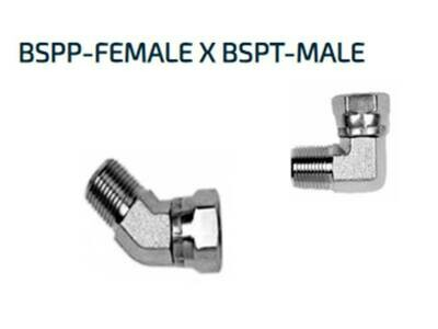 Hydraulic BSP 90°or 45° ELBOW ADAPTORS Male x Female