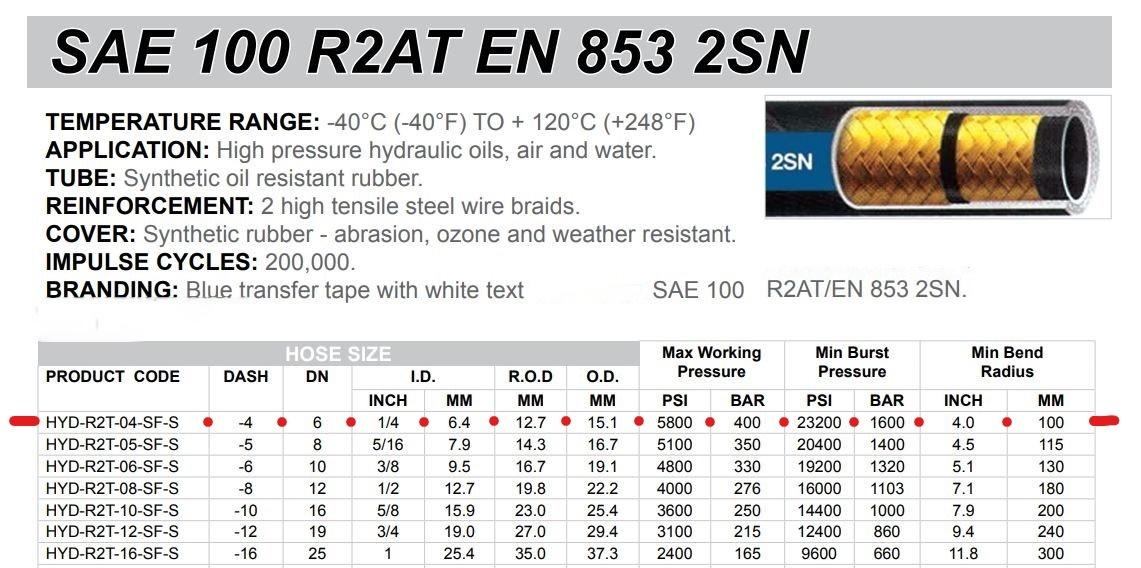 "1/4"" 2 Wire hydraulic hose 10m SAE100R2-04 5800 PSI"