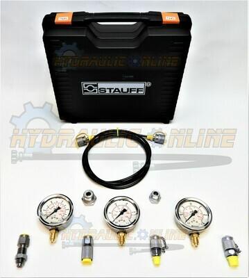 Hydraulic 3 Gauge 12 Pc Pressure Test Kit 0-60, 0-250, 0-400 Bar (0 - 5800 PSI)