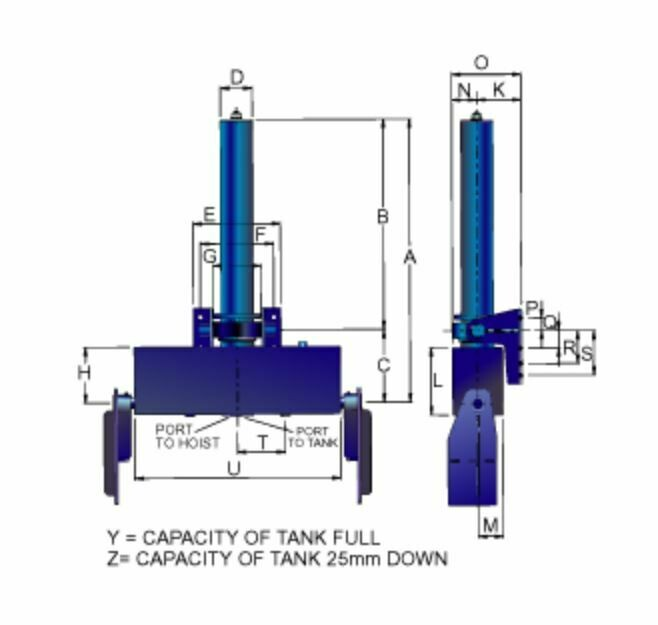 TIPPER HOIST. 6.3 Ton Tipper Cylinder Two 2 Stage Bottom Lift with Inbuilt Tank 2525 mm Stroke