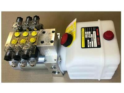 Hydraulic Power Pack Crane Truck 12 - 24V DC 3 x Dbl Acting 5.0 Lt/Min 3000 PSI