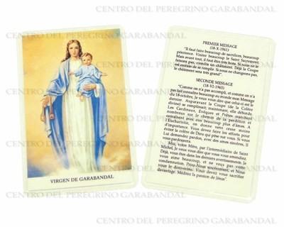 Estampa Plastificada Virgen Carmen