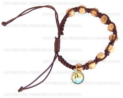 Pulsera Decena Madera con Cruz y La Virgen / Bracelet Decade Wood with Cross and The Virgin