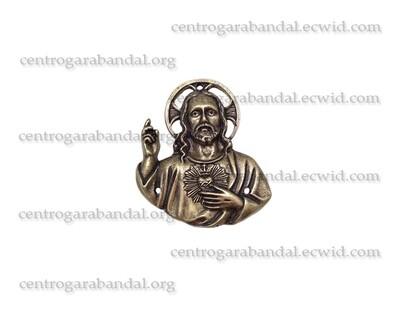 Placa Sagrado Corazón Latón Oxido (Pequeño)