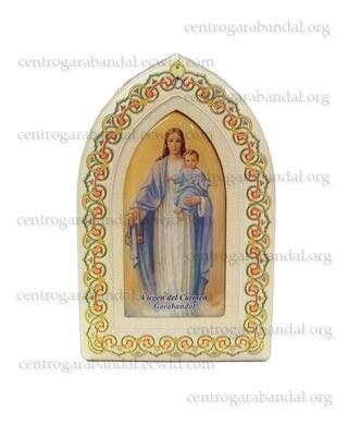 Base madera gótica Virgen con niño