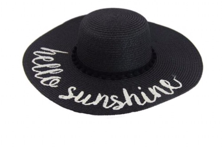 """Hello Sunshine"" Sun Hat - Black"