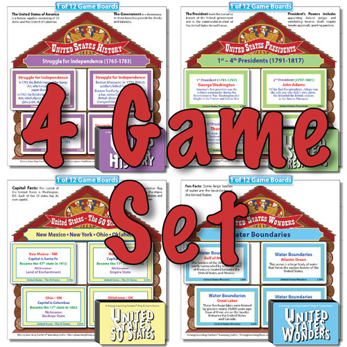 "SPECIAL-4 US History ""Fill-the-House Lotto"" Games-SAVE $15"