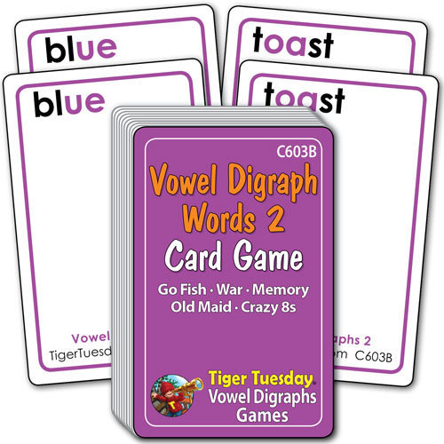 Card Game - Vowel Digraphs 2 Words (5 games in 1)