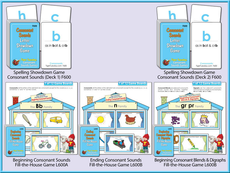 Reading Readiness Game Bundles - Consonant Sounds Level B
