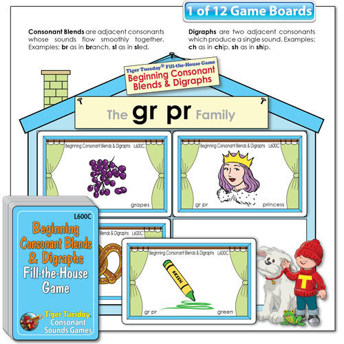 Fill-the-House Game - Beginning Consonant Blends & Digraphs