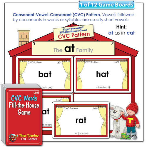 Fill-the-House Game - CVC Pattern Word Families