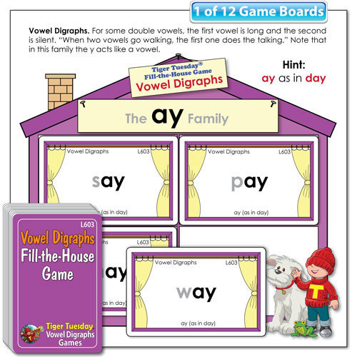 Fill-the-House Game - Vowel Digraphs Word Families