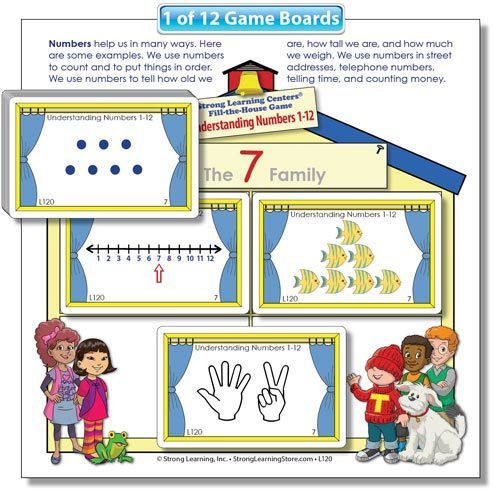 Understanding Numbers 1-12 Fill-the-House Lotto Game