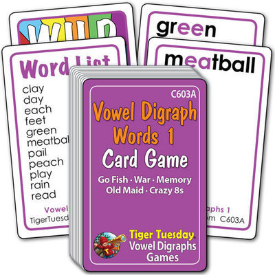 Card Game - Vowel Digraphs 1 Words (5 games in 1)