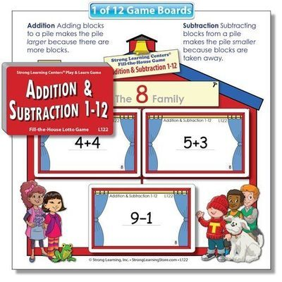 Beginning Addition & Subtraction 1 (1-12) Fill-the-House Lotto Game