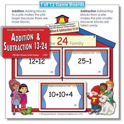 Beginning Addition & Subtraction 2 (13-24) Fill-the-House Lotto Game