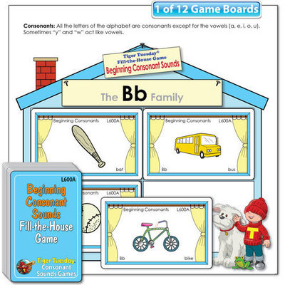 Fill-the-House Game - Beginning Consonant Sounds