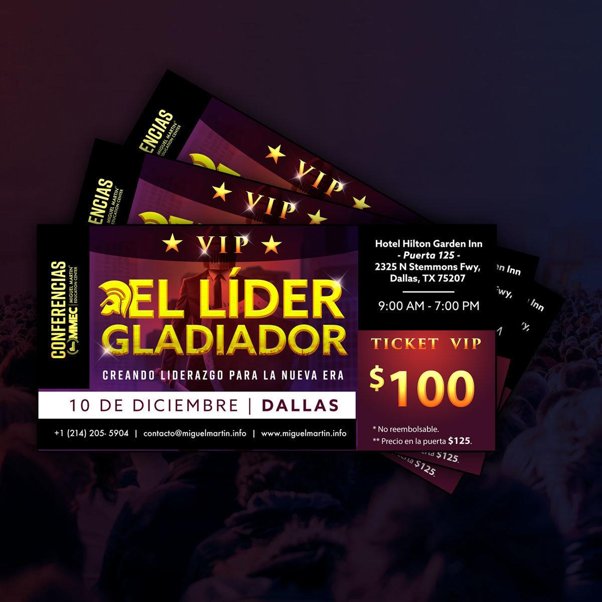 """Ticket VIP: Conferencia del 2017 """"El Líder Gladiador"""" - Dallas TX"""
