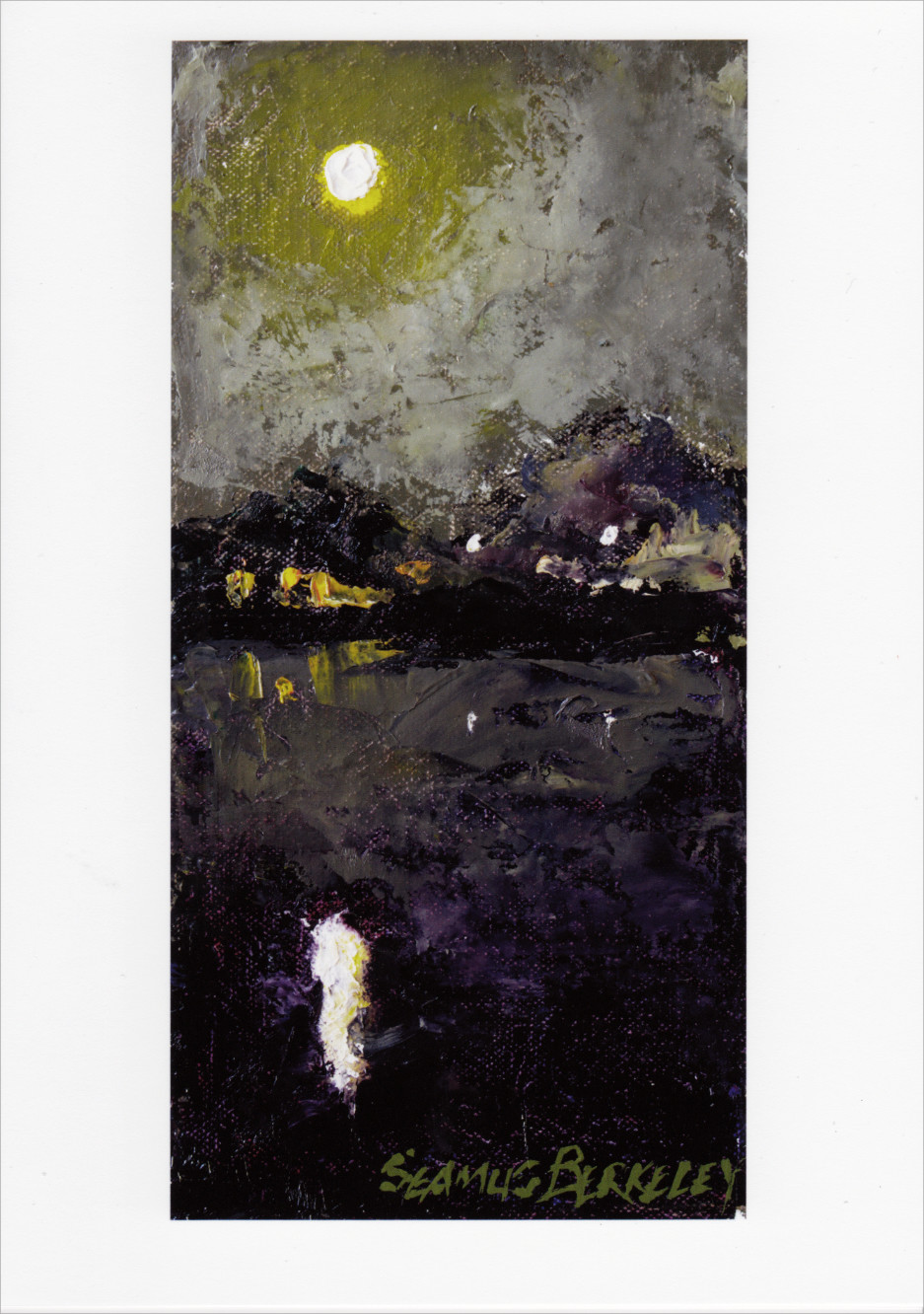 'Full Moon Marina Reflection' Notecard