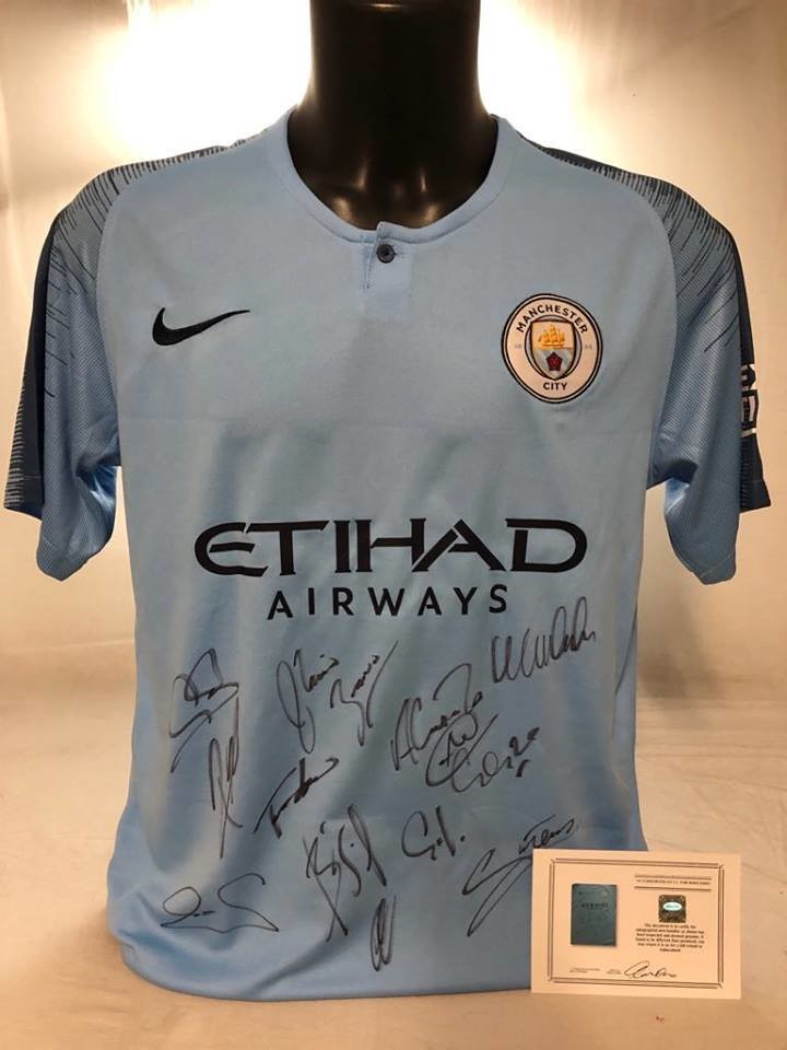 Maglia Manchester City Maglia Casa 2018 2019 Autografata Signed wich COA certificate Manchester City Team Signed MAN City 2018 2019 Man City 18 19