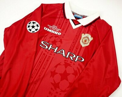 MANCHESTER UNITED FINALE CHAMPIONS 1999  THE FINAL CHAMPIONS MANICHE LUNGHE LONG SLEEVES