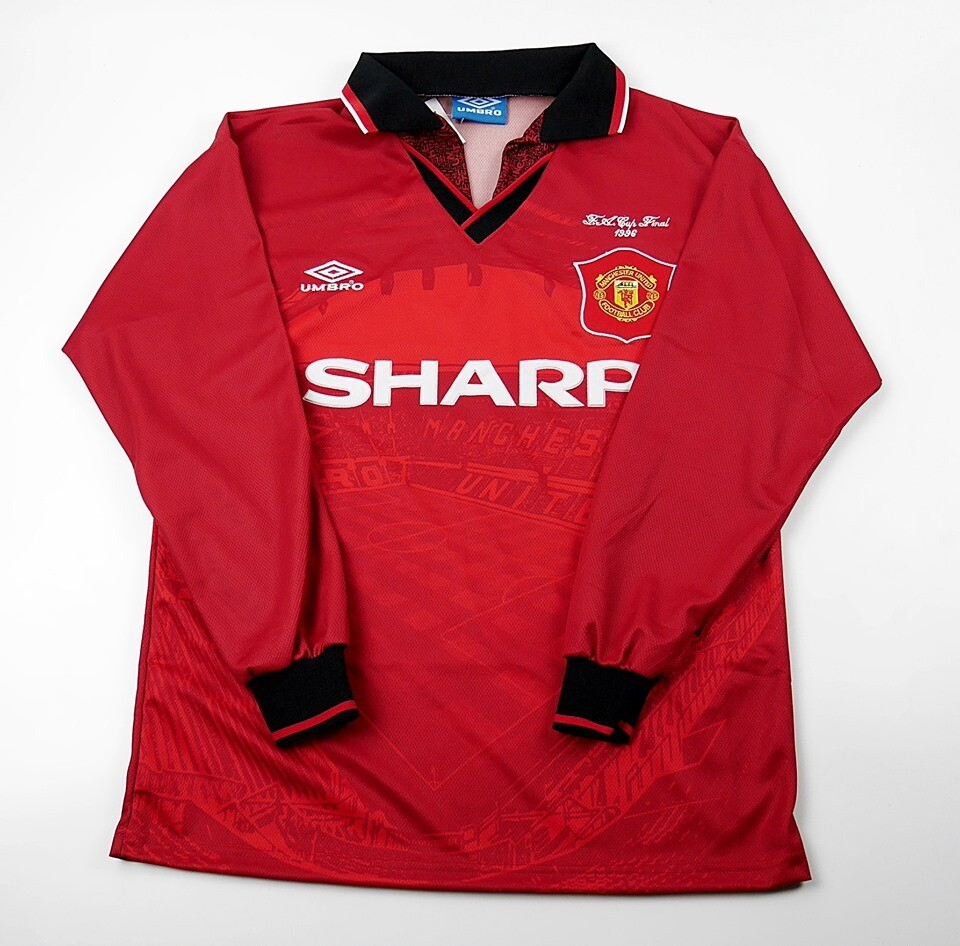 MANCHESTER UNITED FINAL FA CUP 1996  MAGLIA CASA JERSEY HOME 1996 MANICHE LUNGHE LONG SLEEVES