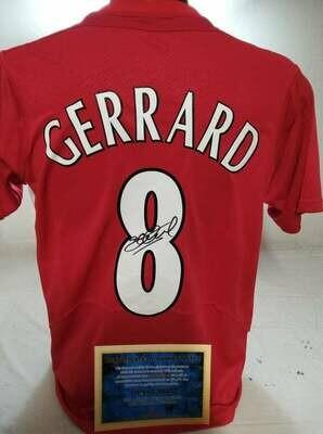 Maglia Liverpool Maglia Casa FINALE CHAMPIONS 2005 INSTANBUL Autografata Steven Gerrard 8 Signed wich COA certificate Liverpool Gerrard 8 Signed FINAL CHAMPIONS LEAGUE 2005