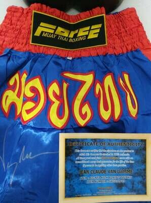 Jean Claude Van Damme Autographed Kickboxer Trunks Signed Trunks Muay Thay Pantaloncini Muay Thay Autografati Van Damme Claude Jean