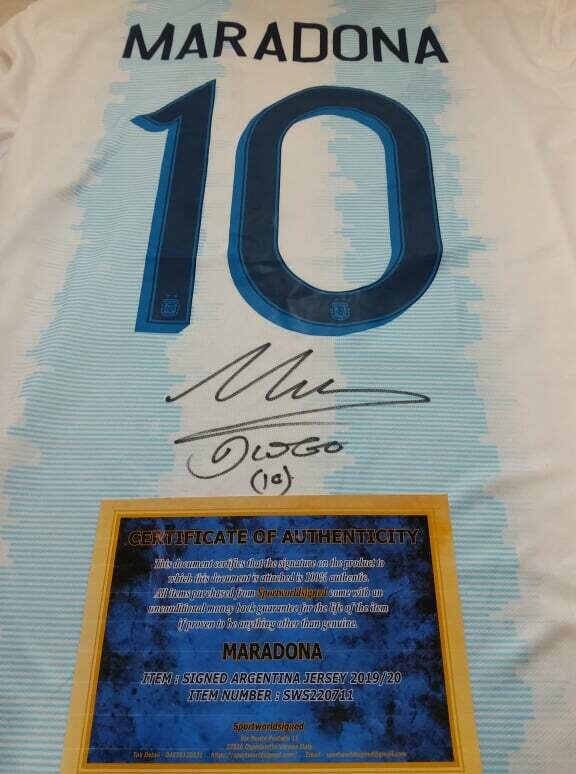 Maglia ARGENTINA Maglia Casa Autografata DIEGO ARMANDO MARADONA Signed wich COA certificate ARGENTINA MARADONA DIEGO ARMANDO MARADONA Signed