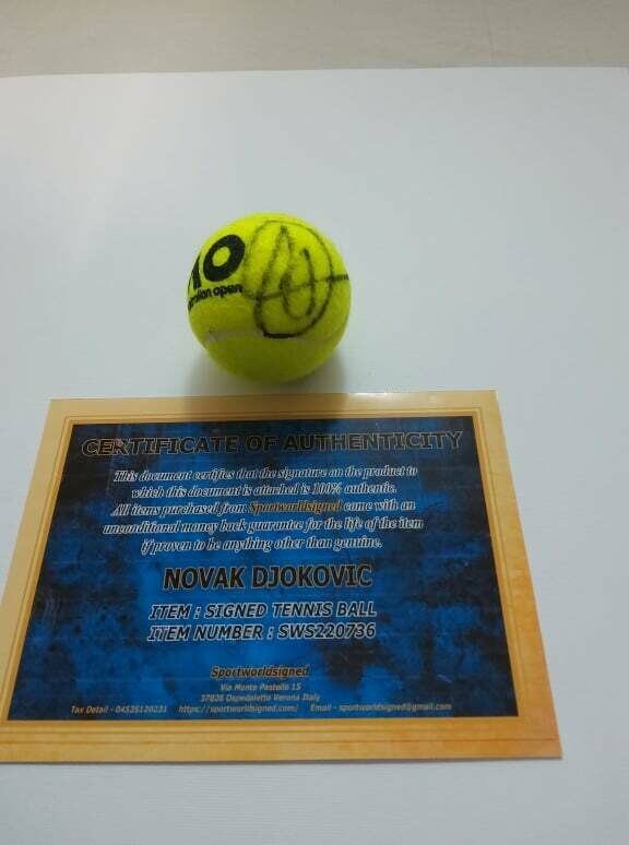 Pallina Tennis NOVAK DJOKOVIC  Autografata  Signed NOVAK DJOKOVIC  with COA certificate of authenticity