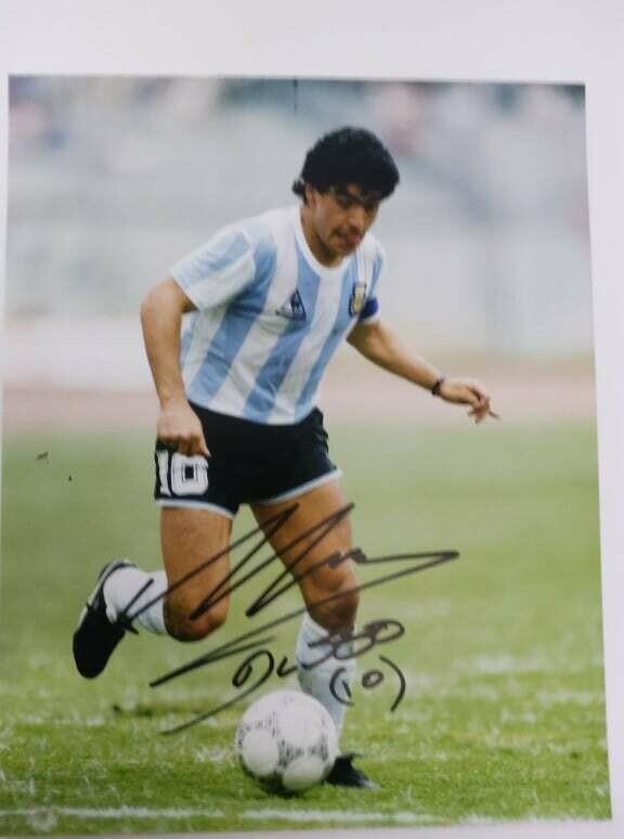 FOTO DIEGO ARMANDO MARADONA Autografata Signed + COA Photo Pibe D oro Mararadona Autografato Signed