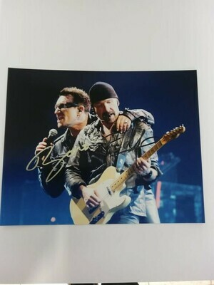 FOTO Paul David Hewson Bono David Howell Evans The Edge U2 Autografata Signed + COA PhotoPaul David Hewson Bono David Howell Evans The Edge U2 Autografato Signed